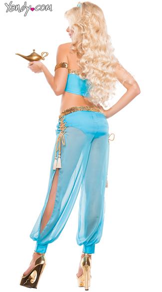 Sexy Blue Genie Costume - As Shown