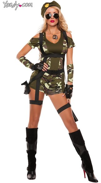 Green Beret Military Costume, Sexy G.I. Joe Costume, Sexy Soldier Costume