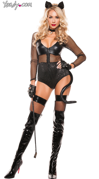 Midnight Cat Costume, Sexy Black Cat Costume, Cat Bodysuit Costume