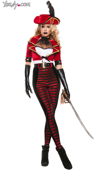 Deluxe Midnight Pirate Costume, Sexy Pirate Costume, Red and Black Pirate Costume