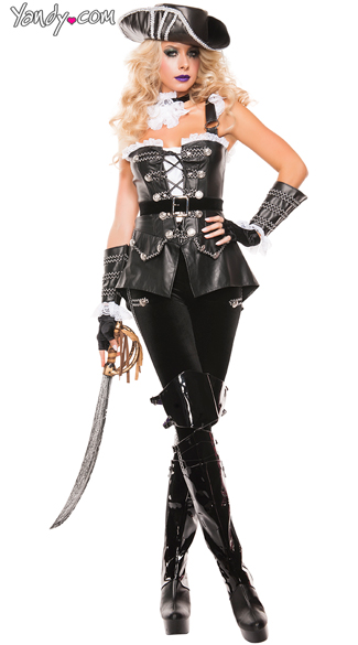 Deluxe Leather Pirate Costume, Noir Pirate, Sexy Dark Pirate costume, Black and Ruffled Sexy Pirate costume