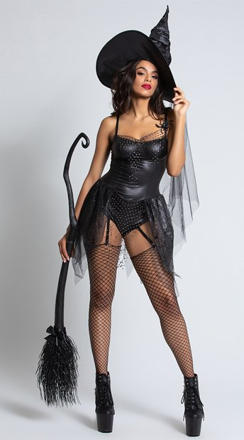 Black Spider Witch Costume - Black