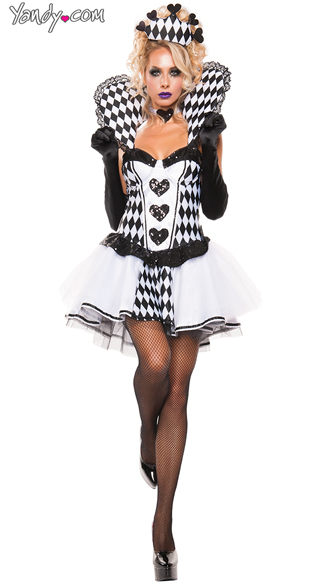 Chess Queen costume, Sexy Black and White Queen costume, Black Queen of Hearts costume