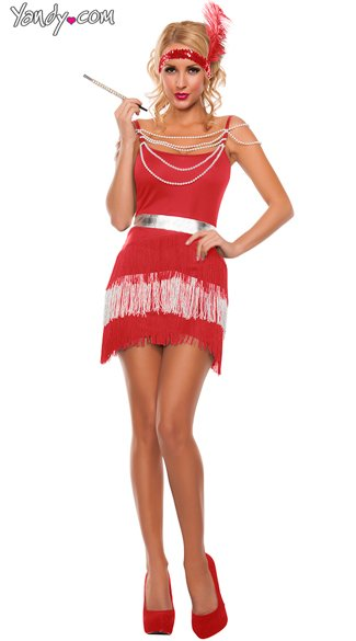 Party Flapper costume, Sexy Red and Silver Fringe Flapper costume, Fringe Flirty Flapper costume