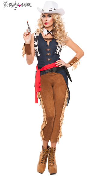 Wild Wild West Costume, Fringe Trim Cow Girl Costume, Faux Leather Sexy Wild West Costume