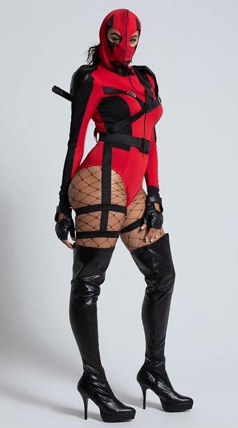 Sexy Dead Assassin Costume - As Shown