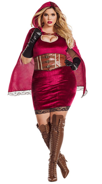 Plus Size Dark Red Riding Hood Costume - Red