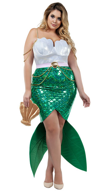 Plus Size Alluring Sea Siren Costume - As Shown
