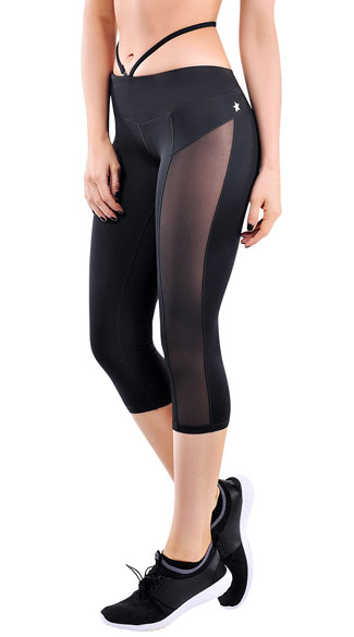 Black Strapped Gym Capris, black capris - Yandy.com