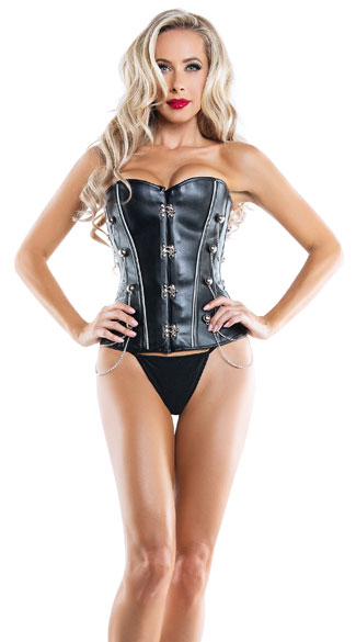 Can\'t Be Tamed Corset, Black Chain Corset, Black Buckle Corset
