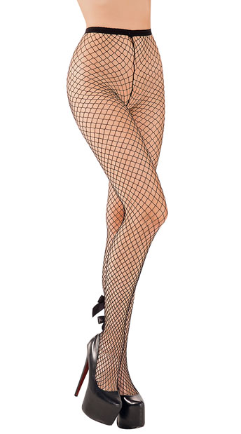 Net Tights With Bow - Black