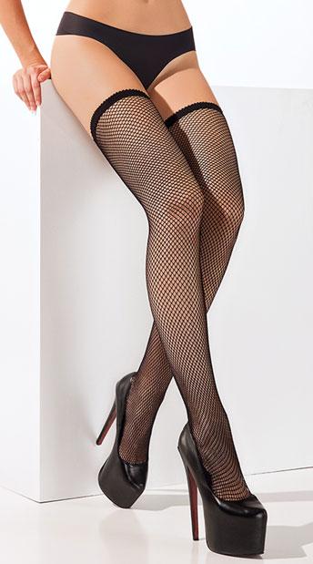 Fishnet Thigh Highs - Black