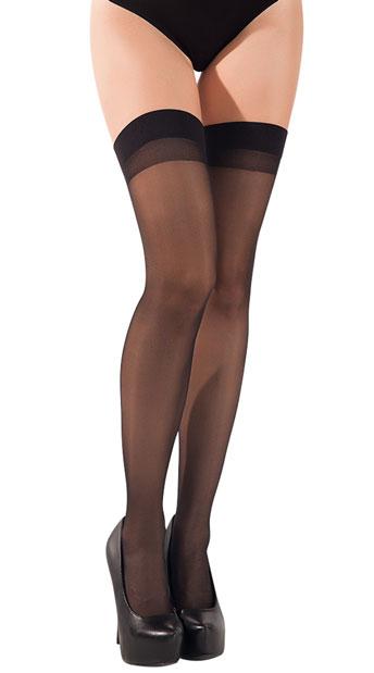 Sheer Cuban Heel Thigh-highs - Black