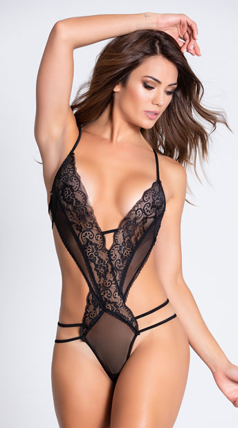 Give It To Me Strappy and Lace Teddy - Black