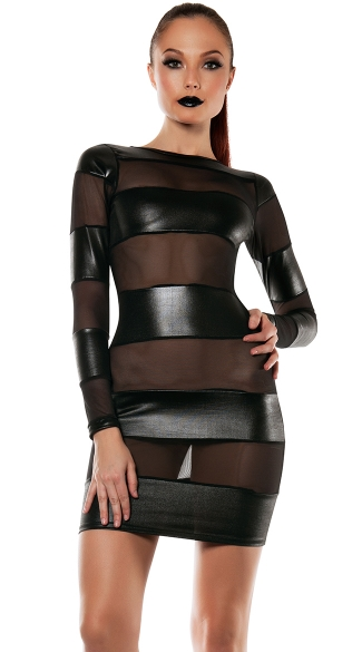 Strapped Down Mesh Blocked Dress, Leather and Mesh Dress, Long Sleeve Dress