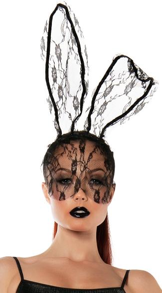 Lace Bunny Mask - Black