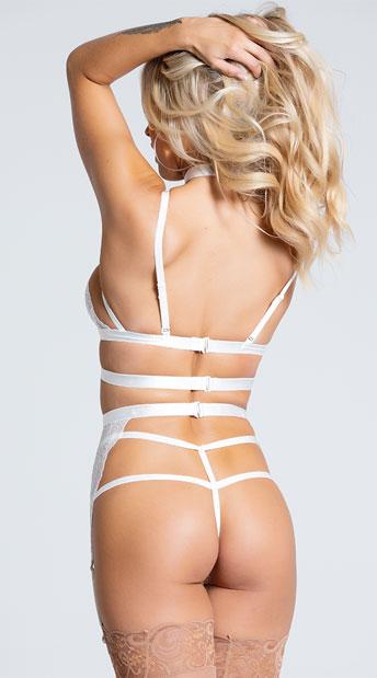 Ms. Rebel Bralette and Garter Set - White