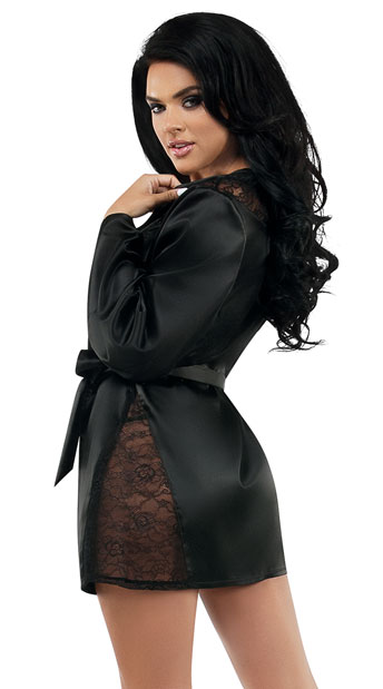 Kindle Satin Robe - Black