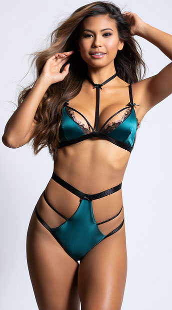 Flirty Jade Bra Set - Jade/Black