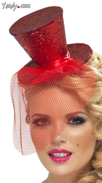 Red Glitter Top Hat, Red Costume Hat
