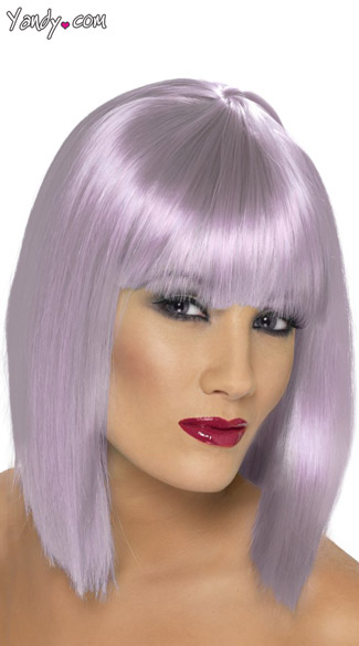 Short Lilac Glam Wig, Light Purple Costume Wig, Trendy Lilac Wig