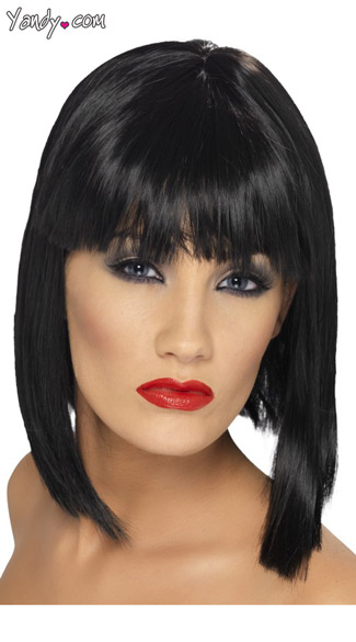 Black Short Blunt Cut Wig With Fringe - Black