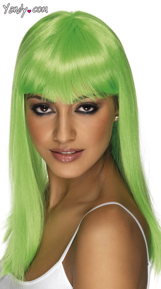 Neon Green Long Costume Wig With Bangs - Neon Green