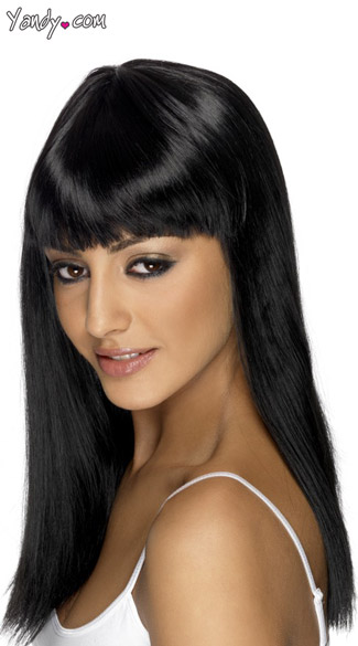 Black Long Costume Wig With Bangs