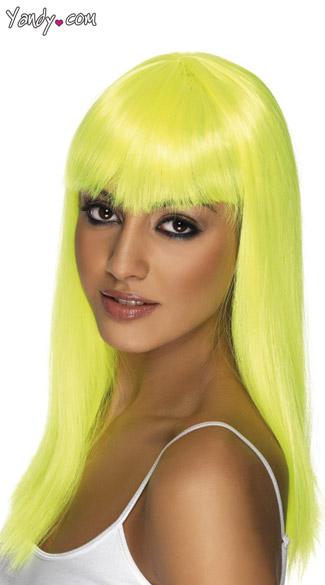 Neon Yellow Long Glamor Wig With Bangs - Neon Yellow