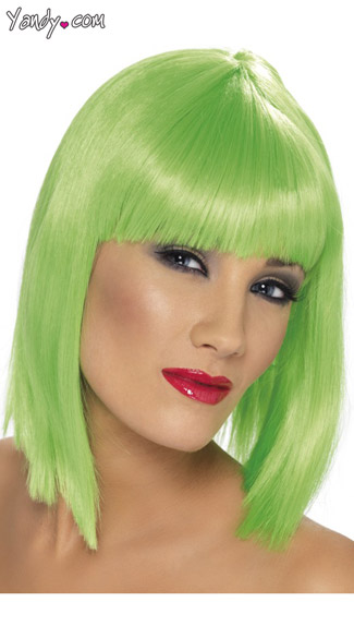 Neon Green Blunt Cut Wig With Fringe