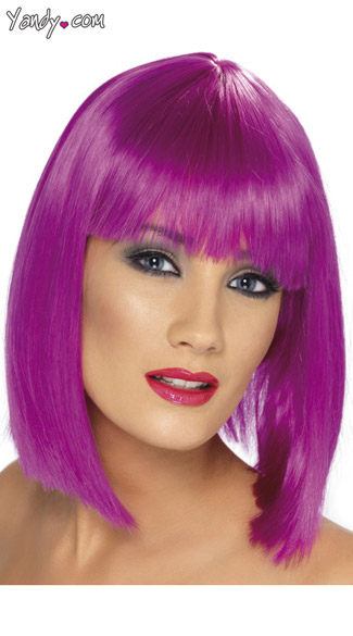 Purple Blunt Cut Wig With Fringe - as shown