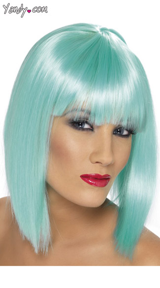 Aqua Blunt Cut Wig With Fringe - Aqua