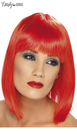 Red Blunt Cut Wig With Fringe - Red