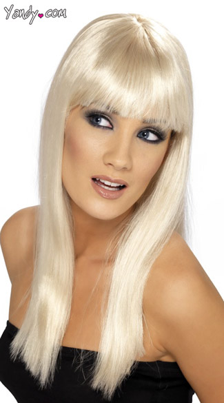 Blonde Long Costume Wig With Bangs
