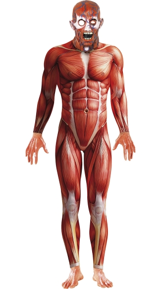 Men\'s Skinned Alive Anatomy Costume, Scary Costumes For Men, Scary Zombie Costumes