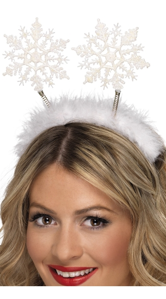 Snowflake Headband Bopper, Holiday Snowflake Headband, Faux Fur Snowflake Headband Bopper
