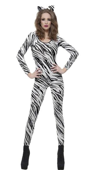 White Zebra Print Bodysuit - Zebra Print