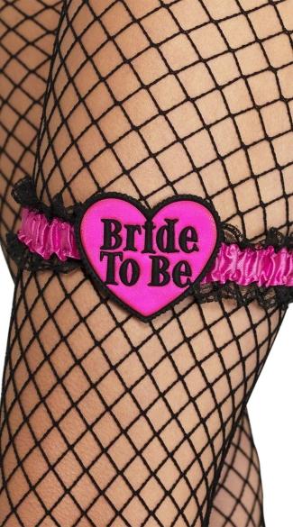 Pink and Black Bride To Be Garter - Pink/Black