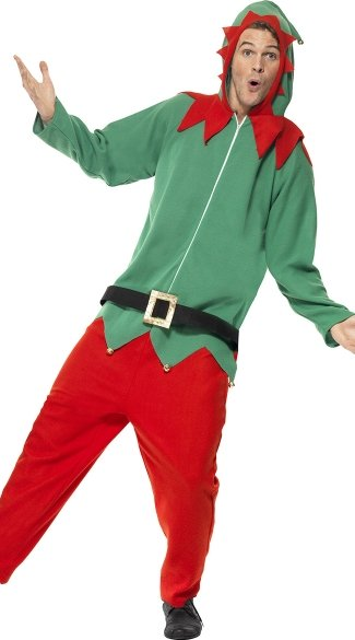 Men's Hooded Elf Jumpsuit Costume - As Shown