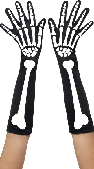 Skeleton Print Gloves, Skeleton Gloves, Bone Print Gloves, Skeleton Halloween Gloves