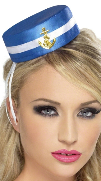 Sailor Pill Box Hat - Blue/White