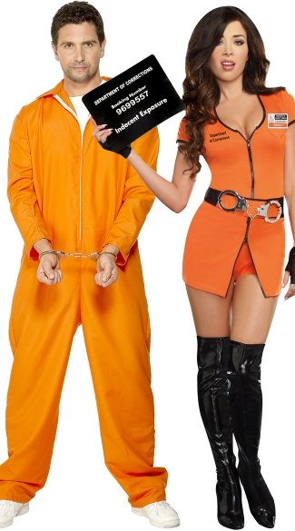 Orange Jumpsuit Couples Costume, Men\'s Bad Boy Convict Costume, Orange Prison Jumpsuit, Sexy Locked Up Inmate Costume, Womens Prisoner Costume