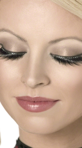 Black Crystal Glamour Eyelashes - Black/Silver