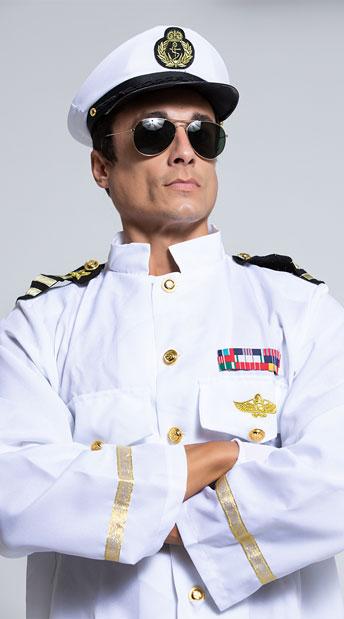Men's Rock Her Boat Captian Costume - White