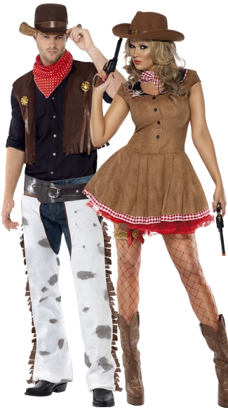 Old West Couples Costume, Mens Western Cowboy Costume -9252