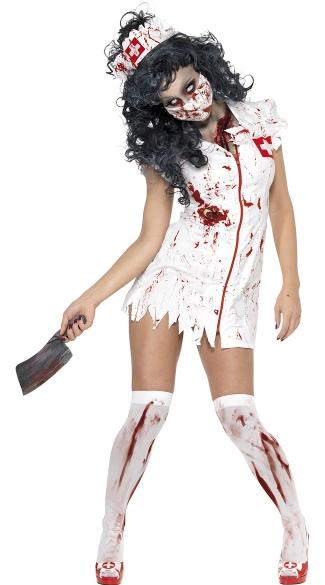 Zombie Hacker Nurse Costume - Red/White