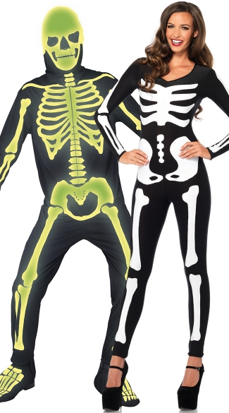 Glow In The Dark Skeletons Couples Costume - as shown