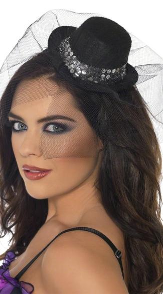 Sparkle Mini Top Hat with Veil - Black