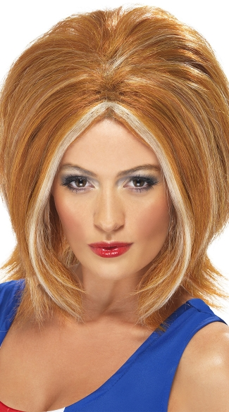 Ginger Power Wig, Pop Star Costume Accessories, Spice Girls Halloween Costume