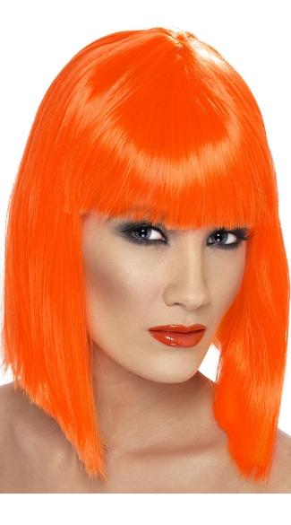 Neon Orange Blunt Cut Wig With Fringe - Orange